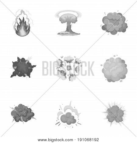 A set of icons about the explosion. Various explosions, a cloud of smoke and fire.Explosions icon in set collection on monochrome style vector symbol stock web illustration.