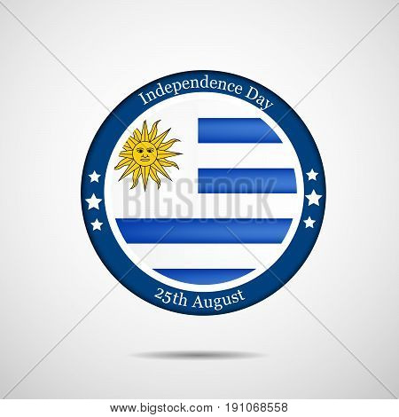 illustration of a stamp in Uruguay Flag background with Independence Day 25th August Text on the occasion of Uruguay independence day