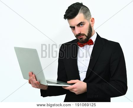 Serious And Concentrated Realtor With Beard