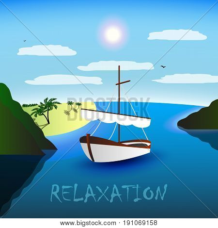 A single-masted sailboat in the beautiful bay. Beach, palm trees and sea. Blue sky, white clouds, seagulls. Relaxation for body and soul