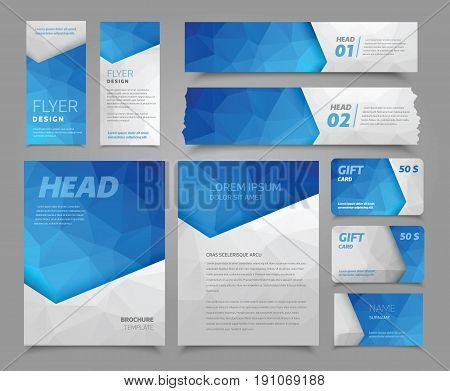 Vector set of corporate identity. Flyer, banner, brochure, gift card and visit card with abstract background with polygonal blue and white triangles. Fully editable.