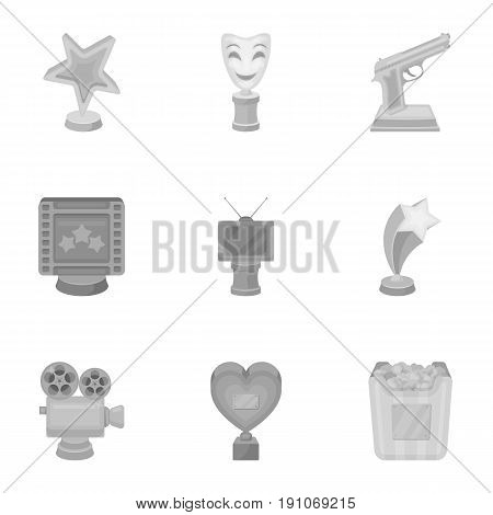 A set of awards for the movie viewings. Gold, silver and bronze awards to the Director, the actor. Moovie awards icon in set collection on monochrome style vector symbol stock web illustration.