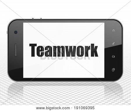 Finance concept: Smartphone with black text Teamwork on display, 3D rendering