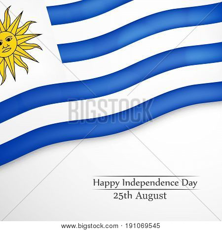 illustration of Uruguay Flag with Happy Independence Day 25th August Text on the occasion of Uruguay Independence Day