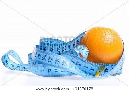 Orange And Measure Tape In Blue Color Waved Around It