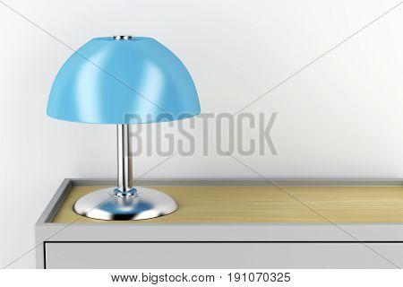 Modern table lamp on nightstand, 3D illustration