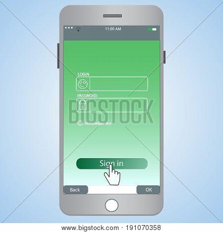 Login form for mobile. Web site vector illustration set