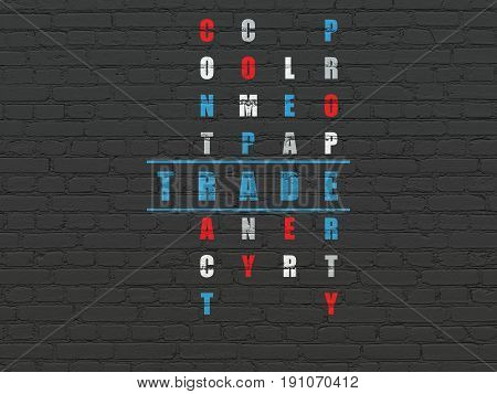 Finance concept: Painted blue word Trade in solving Crossword Puzzle