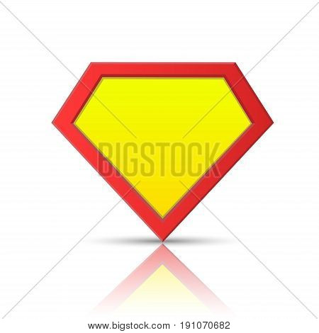 Superhero logo template. Red and yellow vector