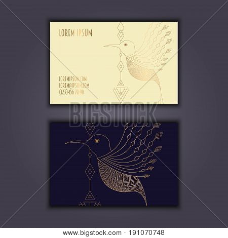 Vector Vintage Visiting Card Set. Glowing Shiny Geometric Bird. Luxury Design.