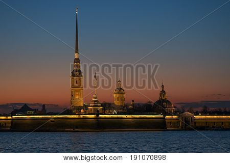 Peter and Paul fortress in a sunset, Saint-Petersburg, Russia