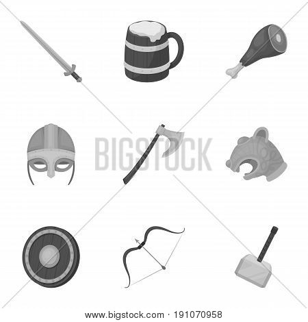 Ancient warriors of the Vikings on the ship. Outfit and symbols of the Vikings.Vikings icon in set collection on monochrome style vector symbol stock web illustration.