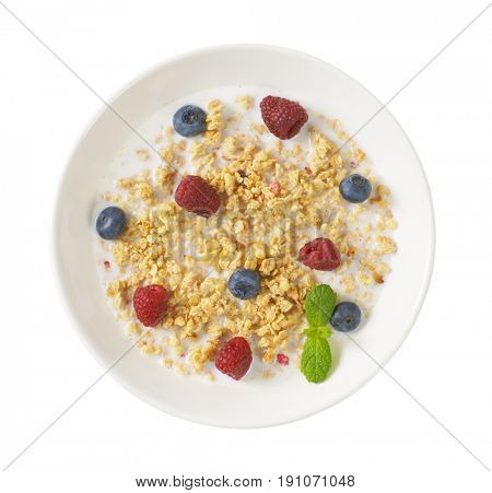 plate of granola with milk and fresh berry fruit