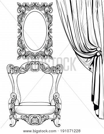 Exquisite Imperial Baroque armchair and mirror frame in luxurious ornament. Vector French Luxury rich intricate structure. Victorian Royal Style