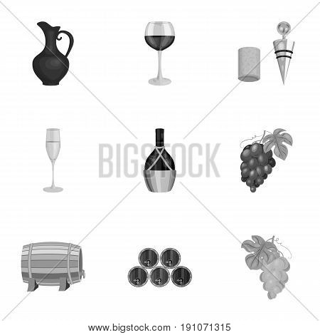 Wine products. Growing grapes, wine.Vine production icon in set collection on monochrome style vector symbol stock web illustration.