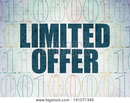 Business concept: Painted blue text Limited Offer on Digital Data Paper background with Binary Code