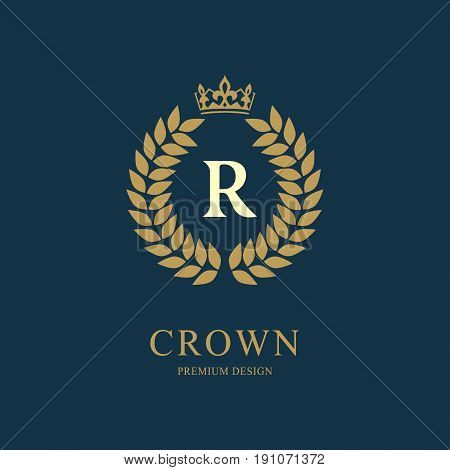 Wreath Monogram luxury design graceful template. Floral elegant beautiful round logo with crown. Letter emblem sign R for Royalty Restaurant Boutique Hotel Heraldic Jewelry. Vector illustration