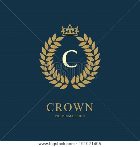 Wreath Monogram luxury design graceful template. Floral elegant beautiful round logo with crown. Letter emblem sign C for Royalty Restaurant Boutique Hotel Heraldic Jewelry. Vector illustration