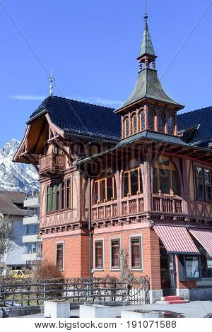 Vintage Wodden House At Engelberg On The Swiss Alps