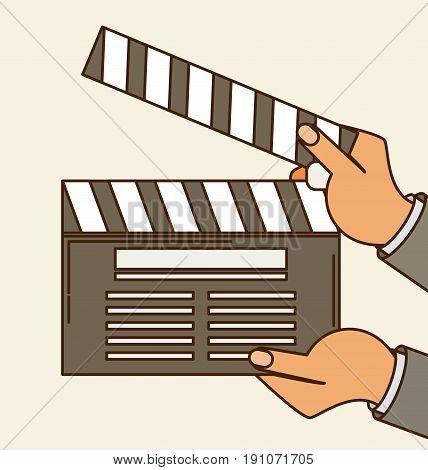 Cinema Vector. Lights, Camera, Action Flat Vector