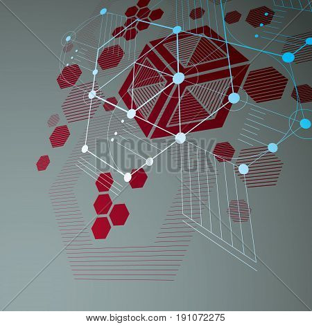 Modular Bauhaus 3D Vector Red Background, Created From Simple Geometric Figures Like Hexagons And Li