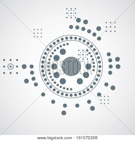 Modular Bauhaus Vector Grayscale Background, Created From Simple Geometric Figures Like Circles And