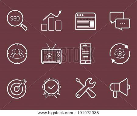 Seo, smm, development and marketing vector icon set