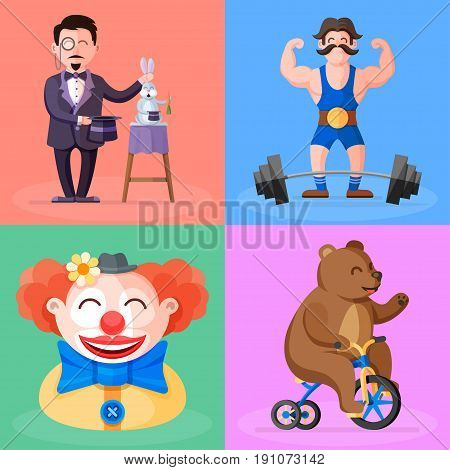 Amazing circus show colorful cartoon illustration. Magician with his magic hat and rabbit, strong man with barbell and moustache, funny clown in hat and cute bear on bicycle vector characters icon set