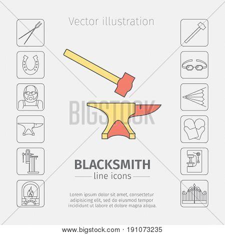 Blacksmith thin line icon set. Vector illustration