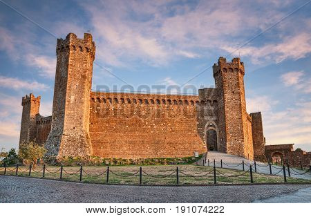 Montalcino, Siena, Tuscany, Italy: the medieval Fortress, castle built in 1361 atop the highest point of the town