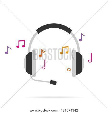 Headphones. Music sounds from the headphones. Flat design vector illustration vector.