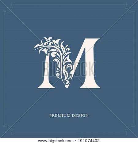 Elegant Letter M. Graceful Royal Style. Calligraphic Beautiful Logo. Vintage Drawn Emblem For Book D