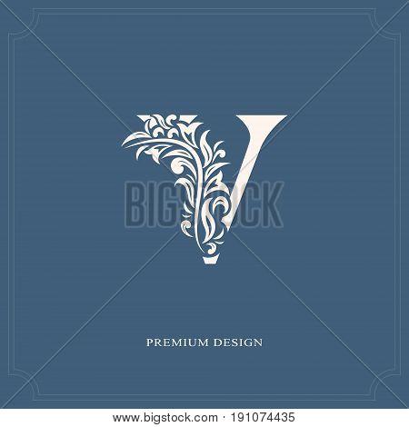 Elegant letter V. Graceful royal style. Calligraphic beautiful logo. Vintage drawn emblem for book design brand name business card Restaurant Boutique Hotel. Vector illustration