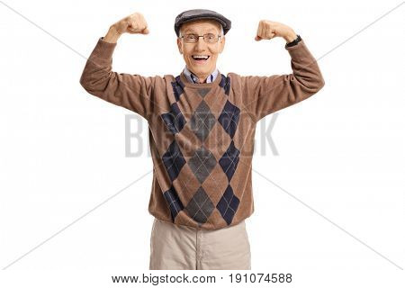Cheerful senior flexing his muscles and looking at the camera isolated on white background