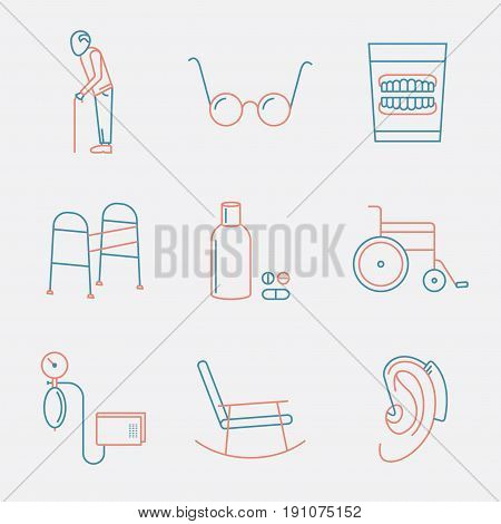 Symbols of Older People. Linear color icon. Vector illustration.