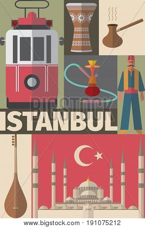 Istanbul arabic Set. Poster with Turkish flat elements. Vector illustration.