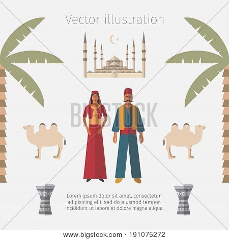 Turkey Flat Icon Set. Travel and Tourism Vector illustration.