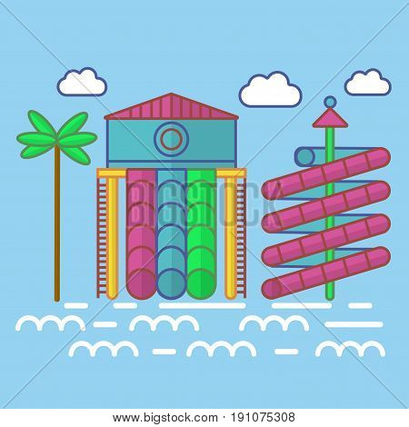 Swimming pool with waterslides and tropical palm for children colorful vector poster in flat design. Place for entertaining in summer with water and constructions for sloping and other actions