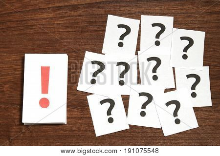 Exclamation mark in front of many question marks. Solution concept.