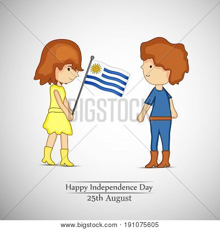 illustration of a girl holding Uruguay flag and boy  with happy independence day 25th August text on the occasion of Uruguay independence day