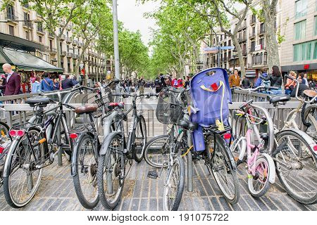BARCELONA SPAIN - APRIL 19: Citylife near street La Rambla on April 19 2017 in Barcelona