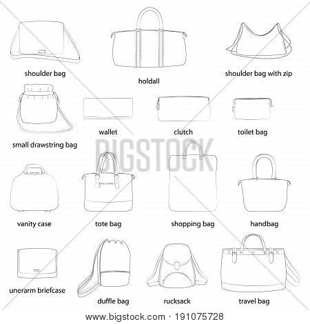 Set of woman bags with names. Black outline, white background. Vector illustration