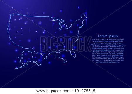 Map of the United States of America from the contours blue and luminous stars of vector illustration