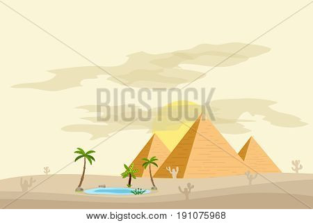 Egyptian pyramids near an oasis with palm trees and water. Flat design vector illustration vector.