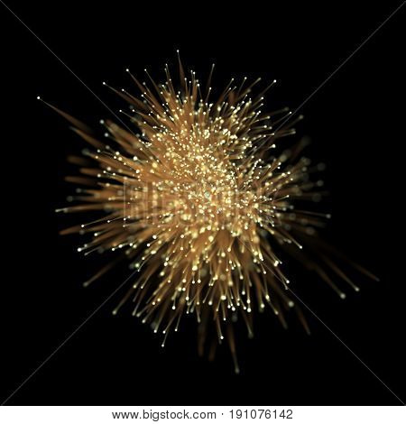 Abstract gold glitter optical fiber light effect on black background. Golden futuristic neon lines with particle star dust for bright glittering texture.