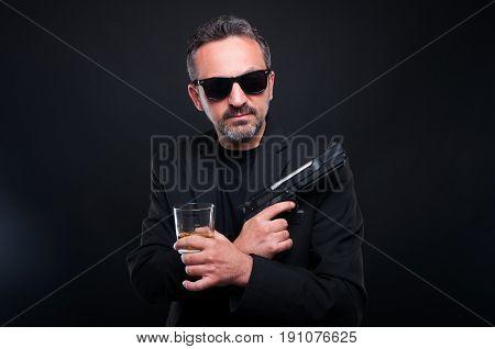 Dangerous Mafia Boss Drinking Scotch
