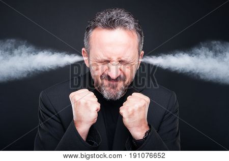 Angry Frustrated Man With Exploding Head