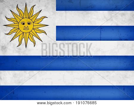 illustration of Uruguay Flag on the occasion of Uruguay Independence day Text