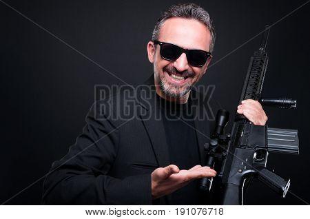 Dealer Weapon Showing Automatic Machine Gun