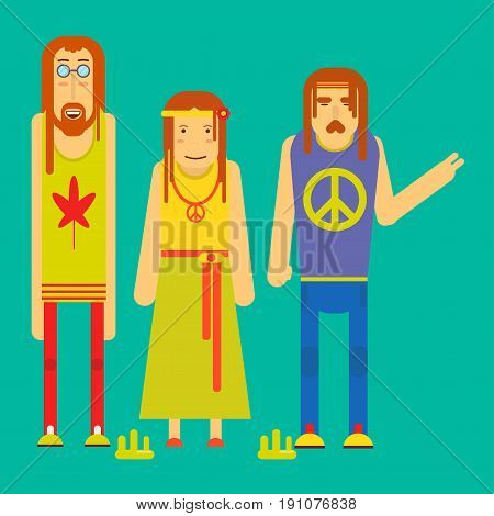 Hippie guy in round glasses and shirt with cannabis leaf, girl in long skirt and hair hoop with small orange flower and man with mustache and big pacifists sign on shirt vector illustration.